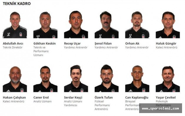 Abdullah Avcı'nın Beşiktaş'ta oluşturduğu geniş teknik kadro.
